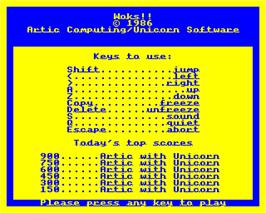 Title screen of Woks on the Acorn Electron.