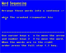 Title screen of Word Sequencing on the Acorn Electron.