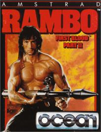 Box cover for Rambo: First Blood Part 2 on the Amstrad CPC.