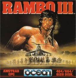 Box cover for Rambo III on the Amstrad CPC.