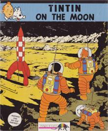 Box cover for Tintin on the Moon on the Amstrad CPC.