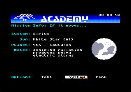 In game image of Academy: Tau Ceti 2 on the Amstrad CPC.