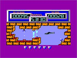 In game image of Airwolf on the Amstrad CPC.