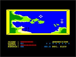 In game image of Beach Head on the Amstrad CPC.