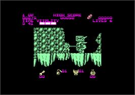 In game image of Black Tiger on the Amstrad CPC.
