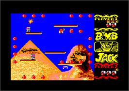 In game image of Bomb Jack on the Amstrad CPC.