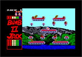 In game image of Bomb Jack 2 on the Amstrad CPC.