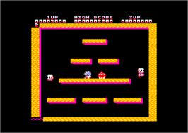 In game image of Bubble Bobble on the Amstrad CPC.