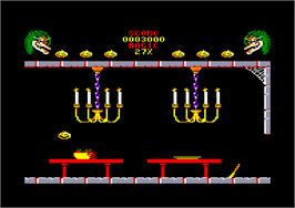 In game image of Cauldron 2: The Pumpkin Strikes Back on the Amstrad CPC.