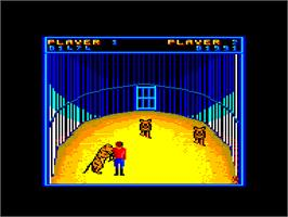 In game image of Circus Games on the Amstrad CPC.