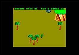 In game image of Commando on the Amstrad CPC.