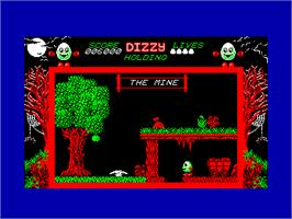 In game image of Dizzy: The Ultimate Cartoon Adventure on the Amstrad CPC.