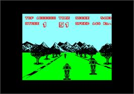 In game image of Enduro Racer on the Amstrad CPC.