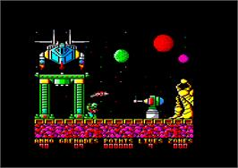 In game image of Exolon on the Amstrad CPC.