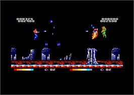 In game image of Forgotten Worlds on the Amstrad CPC.
