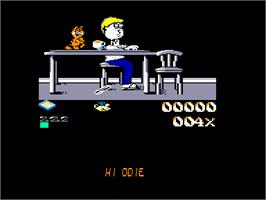 In game image of Garfield: Big, Fat, Hairy Deal on the Amstrad CPC.