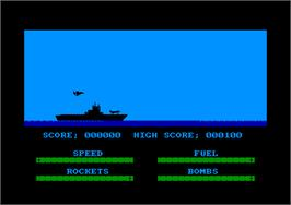 In game image of Harrier Attack on the Amstrad CPC.
