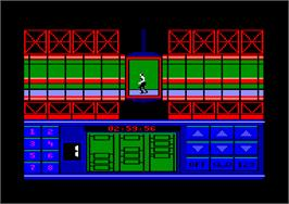 In game image of Impossible Mission 2 on the Amstrad CPC.