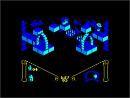 In game image of Knight Lore on the Amstrad CPC.