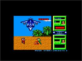 In game image of Mercs on the Amstrad CPC.