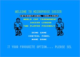 In game image of Microprose Pro Soccer on the Amstrad CPC.