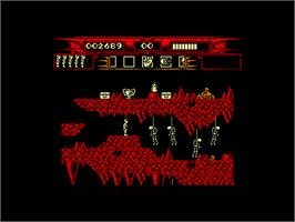 In game image of Myth: History in the Making on the Amstrad CPC.