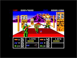 In game image of Operation Thunderbolt on the Amstrad CPC.