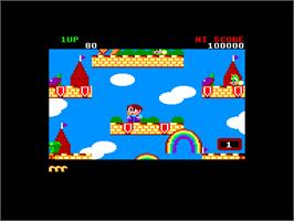 In game image of Rainbow Islands: The Story of Bubble Bobble 2 on the Amstrad CPC.