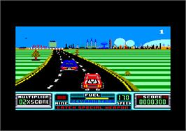 In game image of Road Blasters on the Amstrad CPC.
