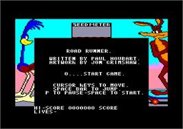 In game image of Road Runner on the Amstrad CPC.