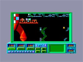 In game image of Robbbot on the Amstrad CPC.