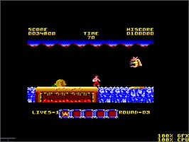In game image of Rygar on the Amstrad CPC.