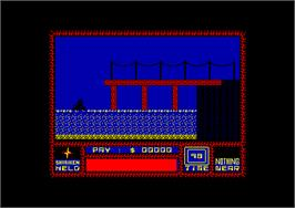 In game image of Saboteur on the Amstrad CPC.