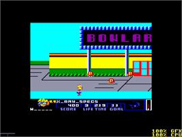 In game image of Simpsons: Bart vs. the Space Mutants on the Amstrad CPC.