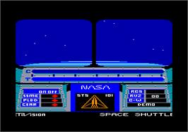 In game image of Space Shuttle: A Journey into Space on the Amstrad CPC.
