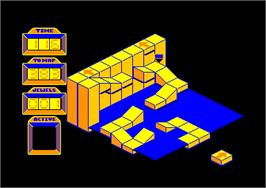 In game image of Spindizzy on the Amstrad CPC.
