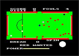 In game image of Steve Davis Snooker on the Amstrad CPC.