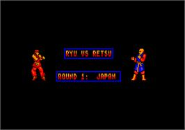 In game image of Street Fighter on the Amstrad CPC.