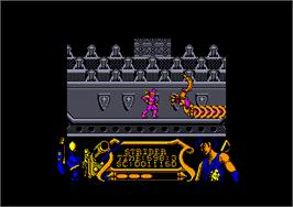 In game image of Strider on the Amstrad CPC.