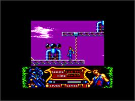 In game image of Strider 2 on the Amstrad CPC.