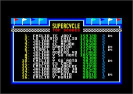 In game image of Super Cycle on the Amstrad CPC.