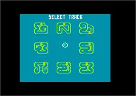 In game image of Super Sprint on the Amstrad CPC.