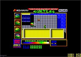 In game image of Teenage Mutant Ninja Turtles on the Amstrad CPC.
