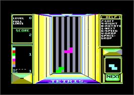 In game image of Tetris on the Amstrad CPC.