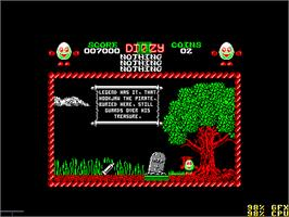 In game image of Treasure Island Dizzy on the Amstrad CPC.