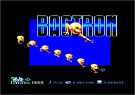 Title screen of Bactron on the Amstrad CPC.
