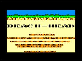 Title screen of Beach Head on the Amstrad CPC.