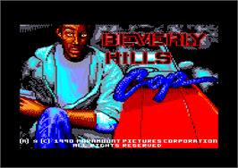 Title screen of Beverly Hills Cop on the Amstrad CPC.
