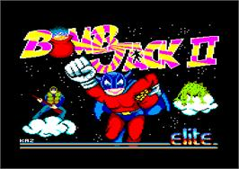 Title screen of Bomb Jack 2 on the Amstrad CPC.