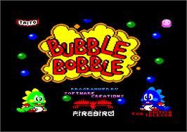 Title screen of Bubble Bobble on the Amstrad CPC.